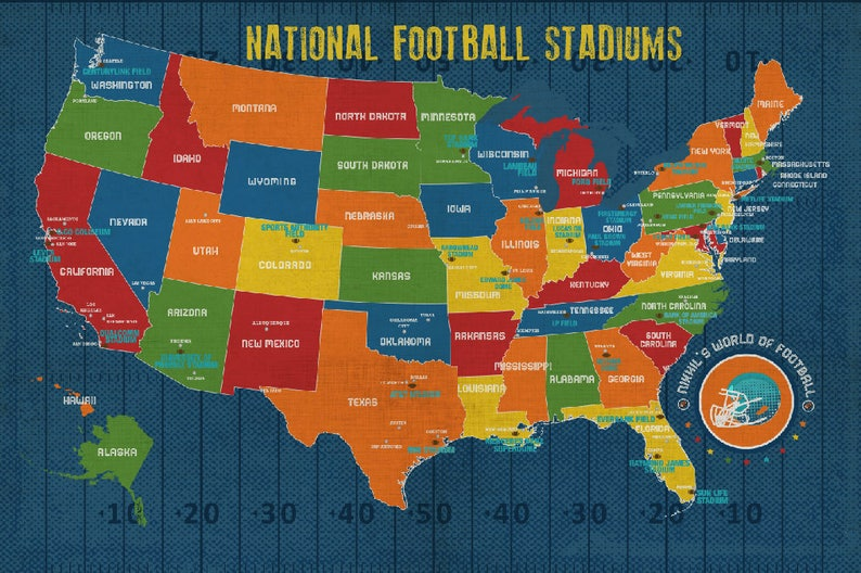 Kids Usa Map.Football Poster Nfl Stadiums Kids Room Decor Football Map Etsy