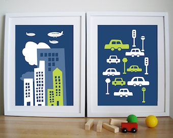 Art Print For Children- City Living - Set of 2 - 8.5X11 Inches, other sizes