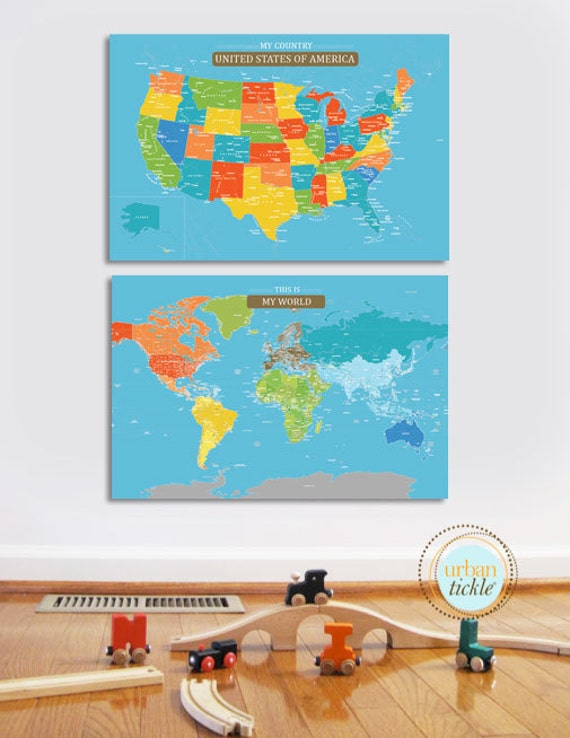 Give Kids The World Map.Maps For Kids World Maps For Kids Canvas Map Board Set Of Etsy