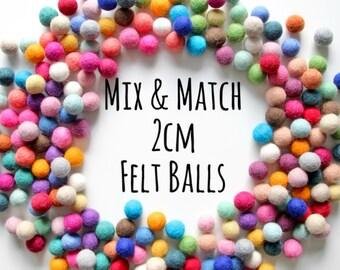 Felt Balls 2cm- Pick Your Colors- Felt Poms
