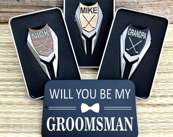 Groomsmen Proposal Gifts Golf Ball Marker Engraved Divot Tool / Asking Will You Be My Groomsman Best Man Invitation Gift Box Ideas