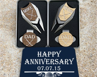 5 Year Anniversary WOOD Golf Ball Marker Divot Tool / Personalized 5th Wedding Anniversary gift for man gifts for men wife Custom Engraved