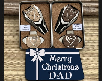 ef8fa5d0500 Christmas Golf Gift For Man DAD Personalized Golf Ball Marker Divot Tool  Gifts For Men Husband Grandpa Papa Custom Engraved Golfer Hat Clip