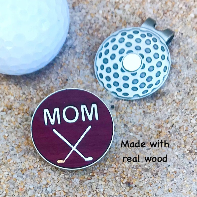 Personalized WOOD Golf Ball Marker / Custom Engraved Golf image 0