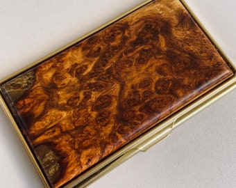 Engraved Business Card Case Personalized AMBOYNA Burl Wood ID Holder Fathers Day Graduation Gift for him men Gifts for man Dad card wallet