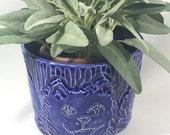 Blue Cat Faces Planter Vase Carved Cats
