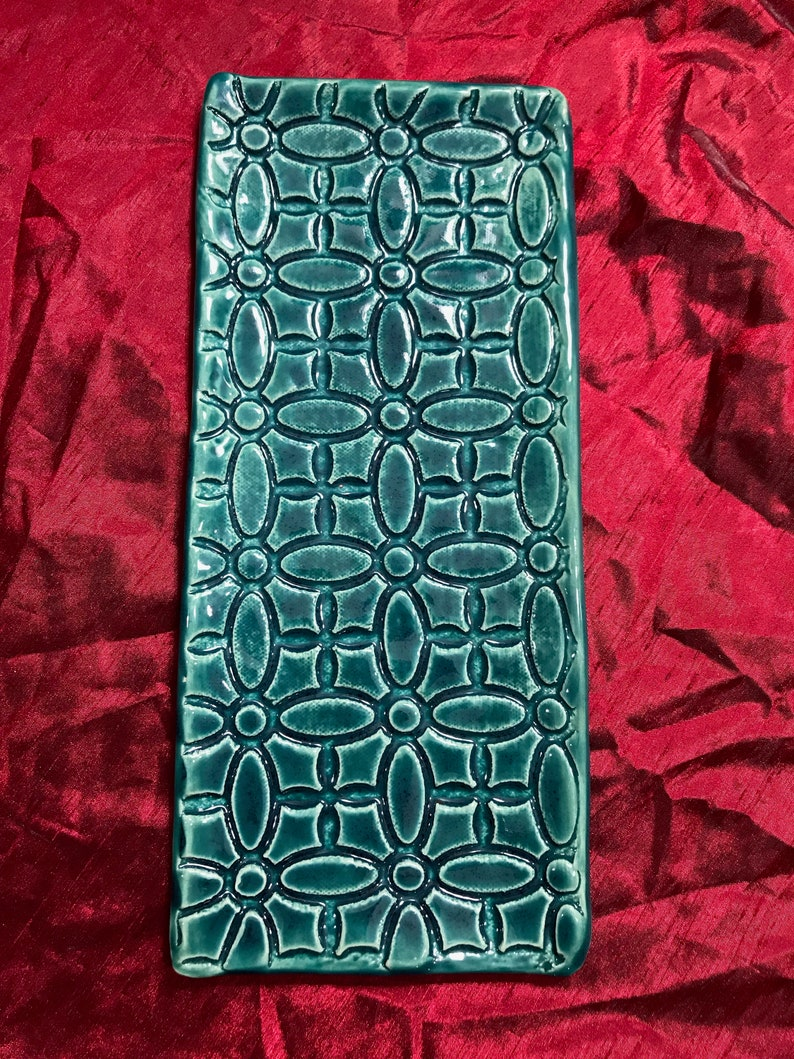 Extra Long Rectangular Clay PartyCandle Dish in Green with Texture