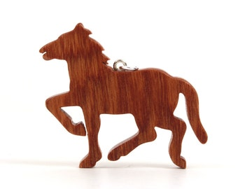 Prancing Horse Necklace, Wood Pony, Country Western Jewelry, Wooden Horse Pendant, Equestrian Jewelry, Cherry