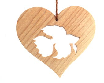 Siamese Fighting Fish Ornament, Wood Heart Shaped Pet Ornament, Christmas Betta Decoration, Wooden Pet Fish Decoration, Maple