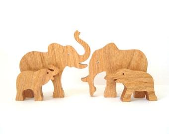 Wood Elephant Toys Wooden Wild Animal Toys Waldorf Wood Animal Families Wild Animal Wooden Toy Waldorf Elephant Oak
