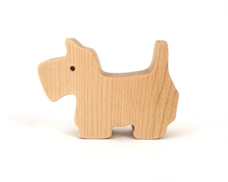 Miniature Wooden Dog Toy Scottish Terrier Westie Waldorf Wood image 0