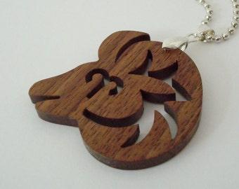 Aries the Ram Necklace  Zodiac Walnut Hand Cut Pendant Scroll Saw
