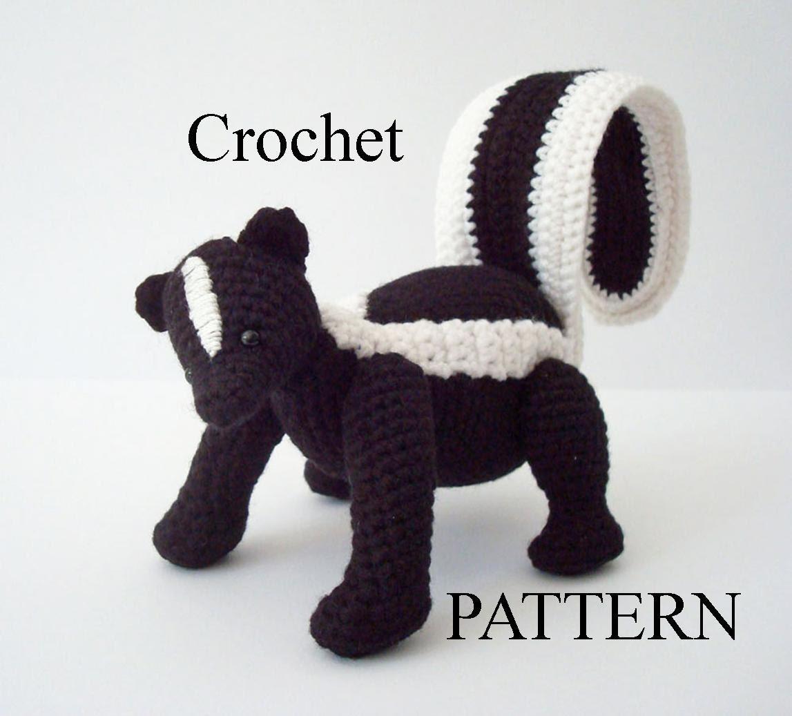 Zorrillo rayado Crochet patrón Amigurumi Skunk bosque Animal | Etsy