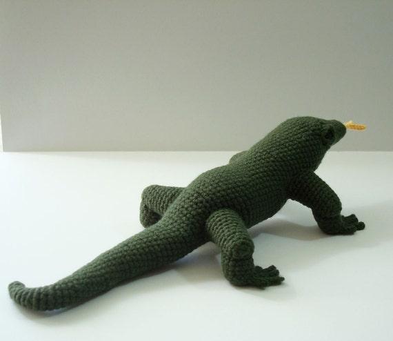 Komodo Dragon Crochet Pattern Amigurumi Komodo Dragon Stuffed Etsy
