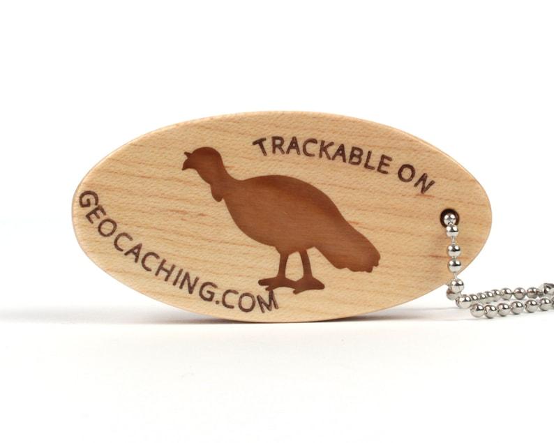 Turkey Key Ring Travel Bug Cherry Wild Turkey Geocoin Key Chain Wooden Handmade Geocaching Trackable