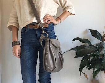 Grey Leather Handbag- made to order bag- pleated leather bag- grey leather  bag- littlewings designs- crossbody leather bag d309aba67e