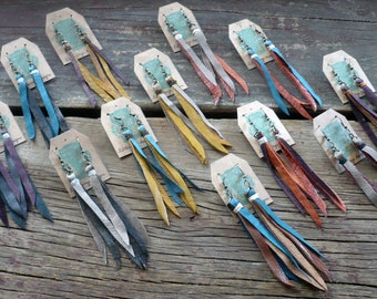 Leather Tassel Earrings- Leather Fringe Earrings- Leather Strip Earrings- Recycled Leather Earring- Wedding Party Earrings- Bridal Party