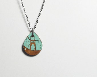 St Johns Bridge Painted Blue Necklace, Small Wood Teardrop