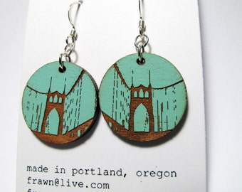 St Johns Bridge Painted Blue Earrings, Small Wood Circle, Standard Hook