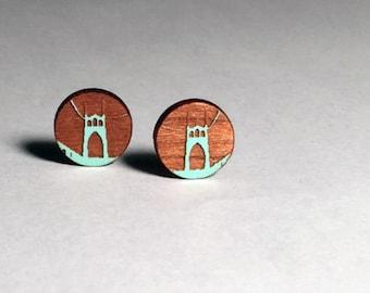 St Johns Bridge Post Earrings, Light Blue