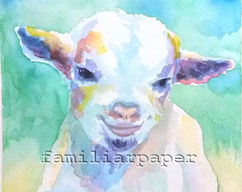 Baby Goat, Kid - Print of Original Watercolor Painting
