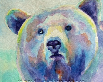 Curious Grizzly Bear: Print of Original Watercolor Painting