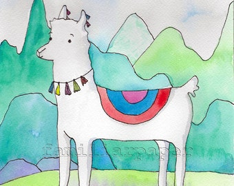 Peruvian Alpaca - Print of Original Watercolor Painting