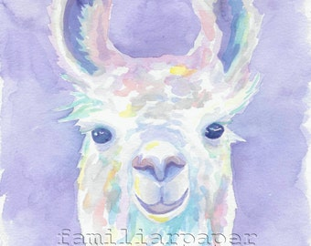 Sweet Llama: Print of Original Watercolor Painting