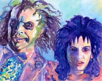 Beetlejuice: Michael Keaton & Winona Ryder - Print of Original Watercolor Painting