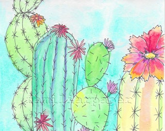 Cactus Garden - Print of Original Watercolor Painting