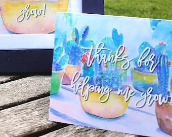 "Gift Card Holder with 2 FREE Digital Prints- Teacher Appreciation/School Gift ""Thanks for Helping Me Grow!"" Watercolor Cactus Print"