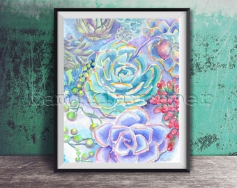 Succulent Garden: Print of Original Watercolor