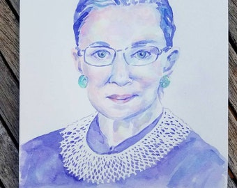 Ruth Bader Ginsburg RBG: Feminist Inspiration - Print of Original Watercolor Painting