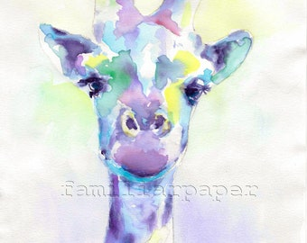 Sweet Giraffe: Print of Original Watercolor Zoo Animal Painting