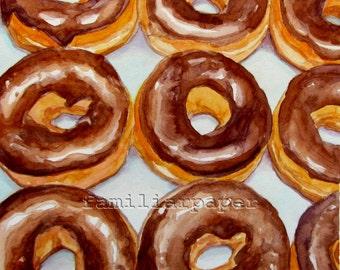 Chocolate Donuts - Print of Original Watercolor Painting