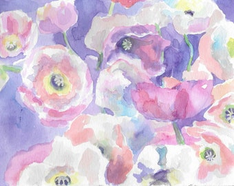 Print of Original Floral Watercolor Painting-  Poppies