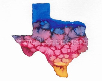 Texas Showers - 8x8 Print of Original Watercolor Painting