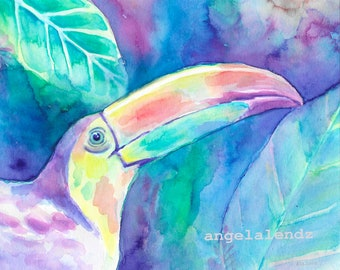 Sweet Toucan: Print of Original Tropical Bird Painting