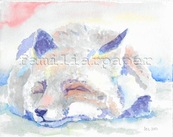 Sleeping Fox: Print of Original Watercolor Painting