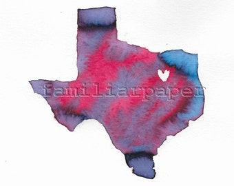 Texas Dallas-Fort Worth Love - 8x8 Print of Original Painting