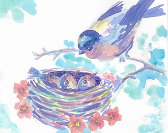 Mother and Baby Birds in Nest:  Print of Original Watercolor Painting