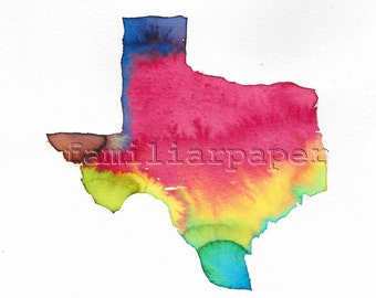 Tie Dye Texas - 8x8 Print of Original Watercolor Painting