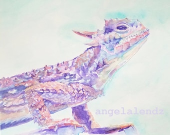 TCU Horned Frog: Colorful Print of Original Watercolor Painting
