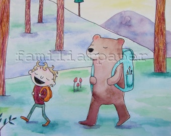 """8x10 Print """"Hiking in the Woods"""""""