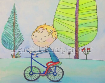 "8x10 Print of Original Watercolor ""Good Day for Biking"""