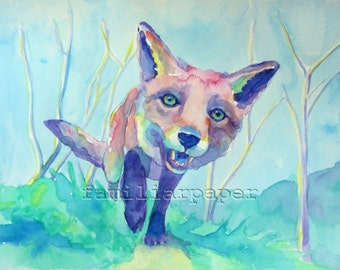Fox on the Prowl: Print of Original Watercolor