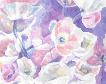 Print of Original Floral Poppy Watercolor Painting