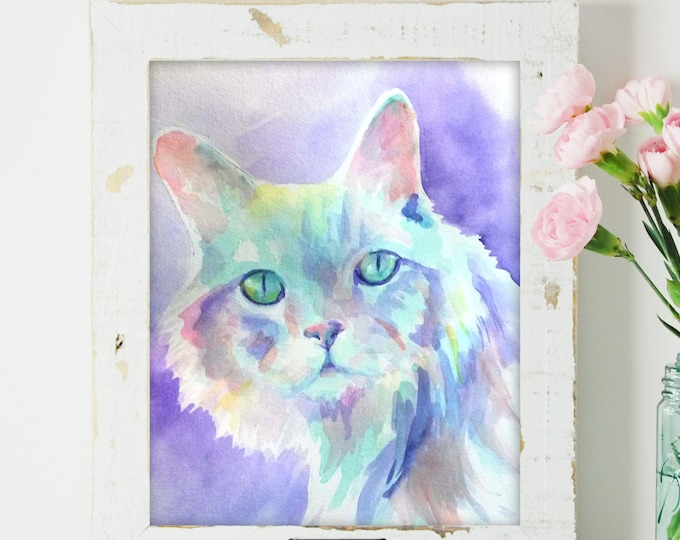 Featured listing image: Custom Pet Cat Watercolor Painting - The Perfect Gift!