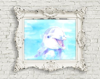 Happy Dolphin: Print of Original Watercolor Painting