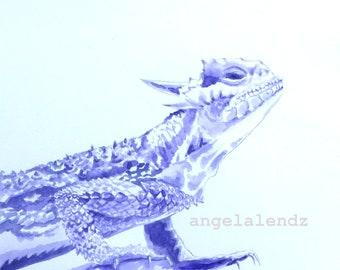 Horned Frog: Print of Original Watercolor Painting TCU Mascot